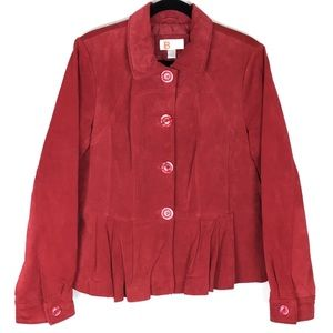 Bernardo Collection Berry Suede Button Up Jacket